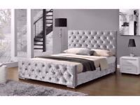 AMAZING OFFER !! DOUBLE SMALL DOUBLE CHESTERFIELD CRUSHED VELVET BED FRAME IN BLACK SILVER AND CREAM