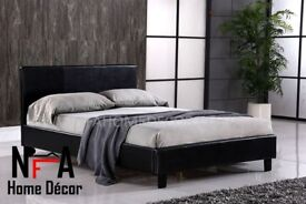 【BED + MATTRESS £105】DOUBLE BED + BASIC MATTRESS FAUX LEATHER BEDS DOUBLE 4FT6 KING SIZE 5FT