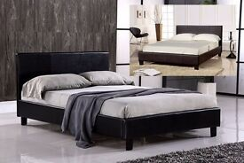 LIMITED STOCK OFFER - BLACK OR BROWN PU LEATHER BED FRAM AND MATTRESS DOUBLE/KING SIZE