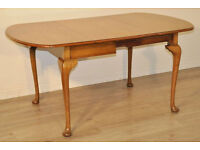 Attractive Large Vintage Light Oak Drop Leaf Dining Table With Pull Out Frame
