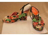 Karen Millen, ladies 3.5 inch wedge sandals, size 38, multicolour, slightly worn soles, cheap £15