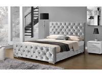 Crushed velvet frame bed full set