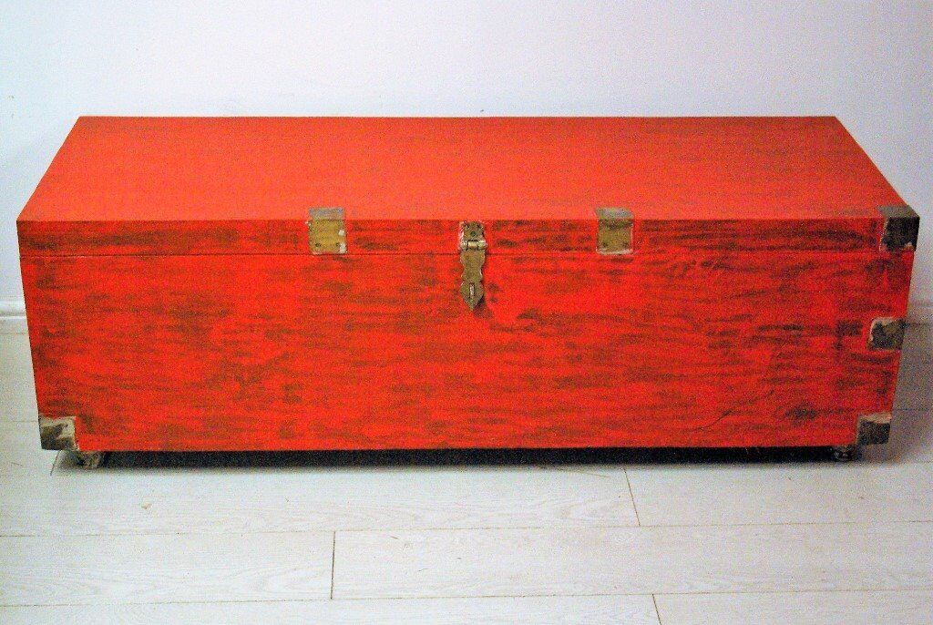 beautiful red antique vintage afghan solid wood chest storage trunk