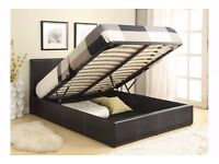 Ottoman Double Storage Bed Upholstered in Faux Leather, 4ft 6, Black/Brown/White