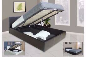Brand New Double Ottoman Storage Leather Bed with 13 Royal 1000 Pocket Sprung Mattress