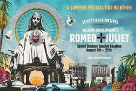 Secret Cinema 18th August - Romeo & Juliet ** 2 tickets for SOLD OUT event