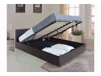UK MOST POPULAR DOUBLE LEATHERSTORAGE OTTOMAN GASLIFT BED FRAME-SINGLE,DOUBLEAND KINGSIZE AVAILABLE