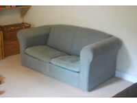 Blue fabric 2 seater sofa bed