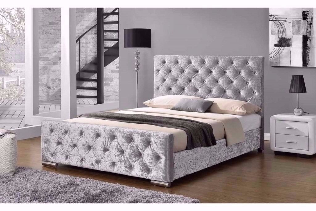 MEGA OFFER ==DOUBLE CRUSHED VELVET CHESTERFIELD BED WITH WIDE RANGE OF CHOICE FOR MATTRESS