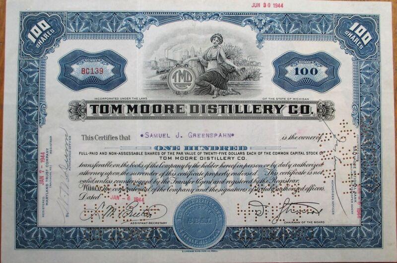 Tom Moore Distillery Co. 1944 Stock Certificate - Michigan MI