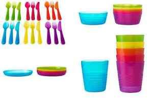 IKEA KALAS 36 Piece Dinner Set Children Party Plastic Cutterly Cups Plates Bowls
