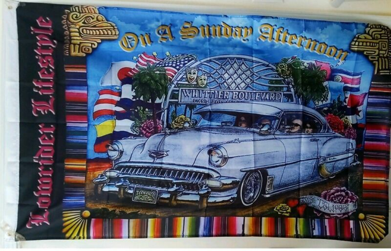 Whittier Boulevard 3X5 Flag Chicano Lowrider Lifestyle Cruising On A Sunday Afte