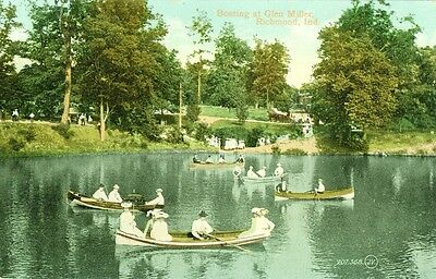 Richmond,IN. A 1909 afternoon of Boating at Glen Miller Park