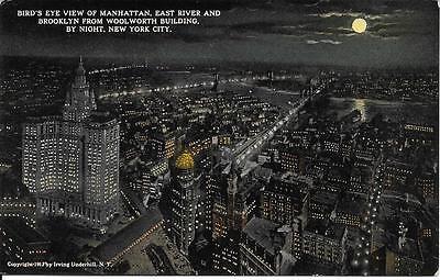 Bird's Eye View Manhattan East River Brooklyn fr Woolworth NYC postcard not used