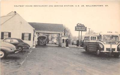 WILLIAMSTOWN, KY, HALFWAY HOUSE RESTAURANT & GAS STATION, BUSES, CARS c 1940's for sale  Shipping to Canada