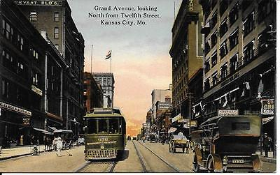 Grand Ave North Fr Twelfth St Kansas City Mo Vintage Postcard Not Postally Used