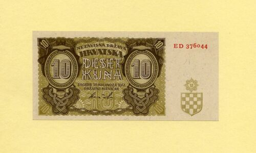 CROATIA KINGDOM, WWII AXIS INFLUENCE 10 KUNA 1941 P-5b GOVERNMENT NOTES UNC RARE