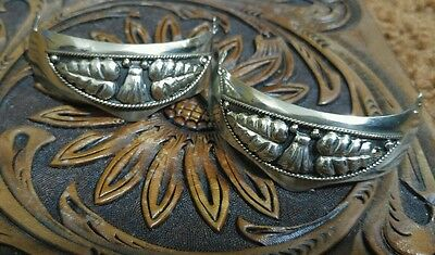 vintage Western cowboy boot heel guards decorative sterling silver plated
