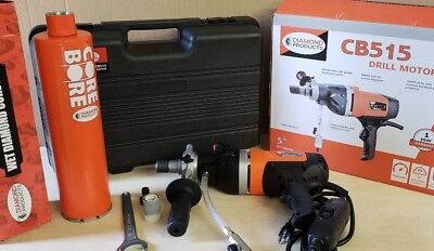 Core Bore Cb515 Hand Held 2 Speed Core Drill And 4in Made In Usa Core Bit