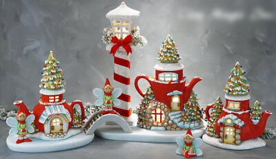 """Ceramic Bisque Ready to Paint """"Christmas Elf Fairy Village"""" Brand New ~lighted~"""
