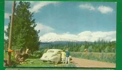 Mt. St. Helens/ Spirit Lake/ 76 gasoline pc/ old white car/ people/ non-linen pc