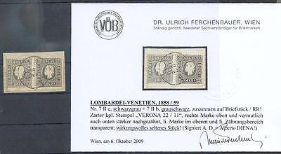 ÖSTERREICH L+V 1858 7IIc RARITÄT +7IIb (Z2632