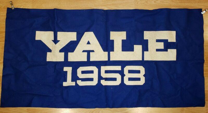 Vintage YALE 1958 Flag/Banner 45x23 Blue & White Felt - Ivy League College