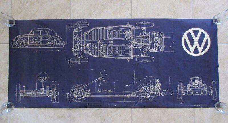Vintage VW Beetle Blueprint Volkswagen Bug Poster Cabriolet Convertible