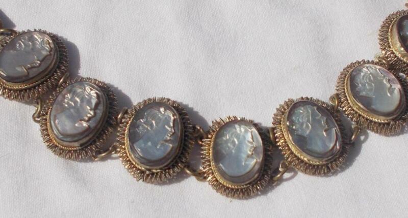 Vintage Giuseppe Mandile Cameo Bracelet Genuine Abalone Shell Wire Filigree
