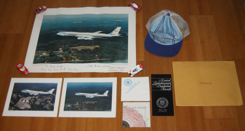 """Vintage U.S. Air Force """"Air Force One"""" Signed Poster + Photos + Hat + Ephemera"""