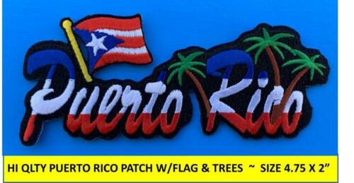 PUERTO RICO FLAG & TREES EMBROIDERED PATCH BORICUA IRON-ON SEW-ON (4.75 x 2.25)