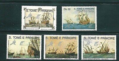S.TOME E PRINCIPE 1989 951/55 5v. BARCOS CARAVELAS