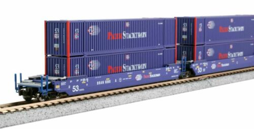 N 106-6180 Kato 3-Unit Gunderson MAXI-IV Double Stack Car w/Pacer Containers