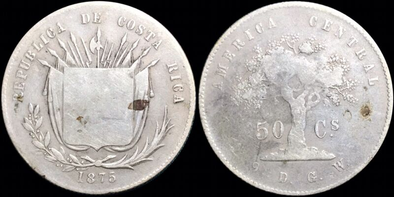 1875 Costa Rica 50 Centavos KM #112 Foreign Silver Coin Low Mintage Scarce