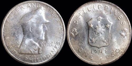 1947-S Philippines One Peso KM #185 MacArthur Commemorative Liberator Defender
