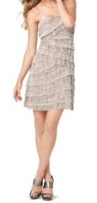 Nine West Dress Sz 4 Champagne A New Spain Mesh Tiered Cocktail Party Dress