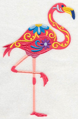 Embroidered Ladies Short-Sleeved T-Shirt - Flower Power Flamingo M5077