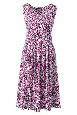 - Lands End Women's Banded Waist Fit and Flare Dress Wineberry Ditsy Floral New