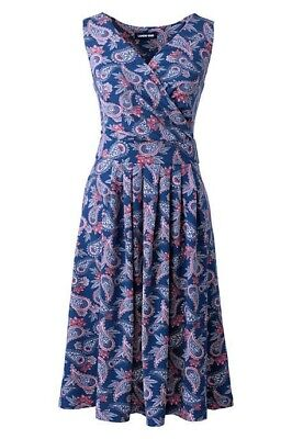 - Lands End Women's Banded Waist Fit and Flare Dress Heritage Blue Paisley New