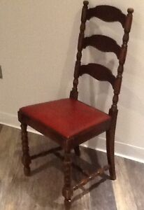 Antique ladder back chairs manufactured by Stratford Chair Co.