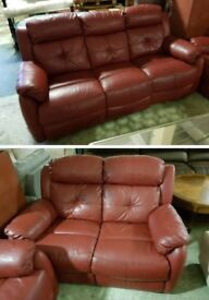 Red leather 3 & 2 seater sofa electric recliner