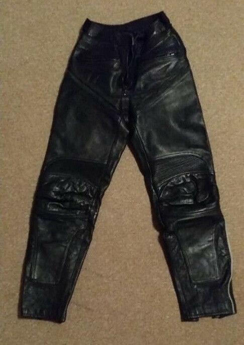 Motorrad Lederhose, schwarz, Damen, Gr. 36, getragen.