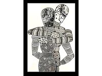 In The Arms Of Love Zentangle Print In A Glass Frame