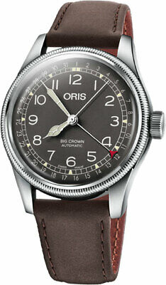 Oris Big Crown Pointer Date Brown Dial Leather Strap Men