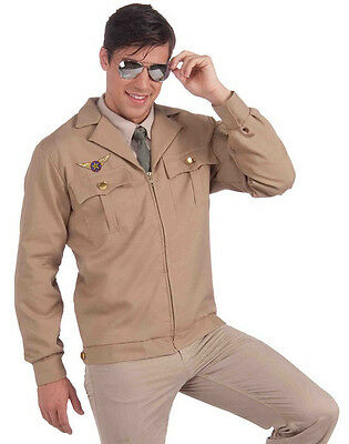 Fighter Pilot Jacket Brown Military Top Gun Halloween Adult Costume Accessory