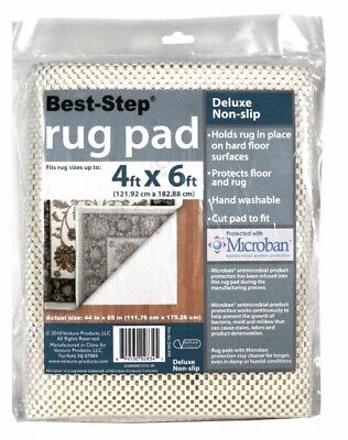 Best Step Deluxe Non-Slip Rug Pad 4 ft x 6 ft With Microban Protection Holds