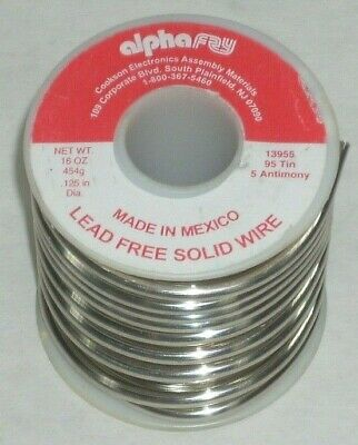 Alpha Fry 13955 Lead Free Solid Solder Wire 95 Tin 5 Antimony 18 Dia 16 Oz