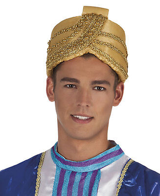 Mens Gold Aladdin Hat Genie Sultan Panto Bollywood Fancy Dress Costume NEW ()