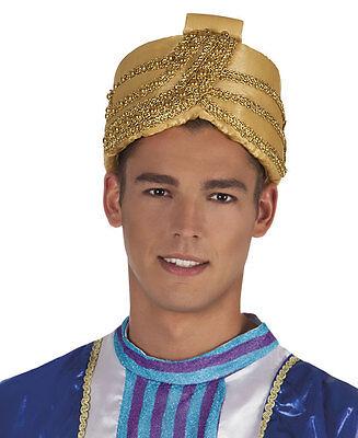 Herren Gold Aladdin Hut Genie Sultan Pantomime Bollywood Fancy-Dress Kostüm Neu