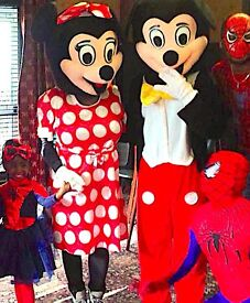 Kids CLOWN & MASCOT Entertainer SPIDERMAN MINNIE MICKEY Mouse Childrens Balloon modeller manned hire